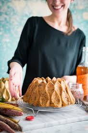cookie butter stuffed carrot bundt cake with coconut rum icing