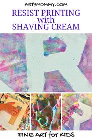 resist printing for kids with shaving cream u2013 arty mommy