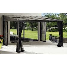 Mosquito Netting Patio Sojag Pompano Attached Patio Cover Gazebo 10x10 With Mosquito