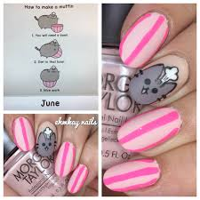 ehmkay nails pusheen calendar series june 2017 chef pusheen nail art