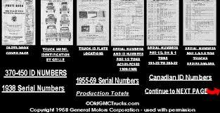 oldgmctrucks com serial numbers gmc decoding and deciphering
