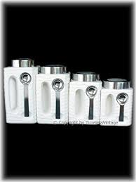 black and white kitchen canisters amazon com set 4 retro white ceramic kitchen canisters with