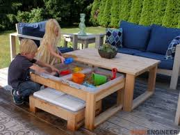 diy sand and water table pvc kids outdoor activity table outdoor designs