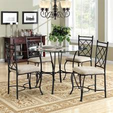 dorel living mainstays glass top metal 5 piece dinette black