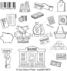vectors illustration of money banking services shopping sketch