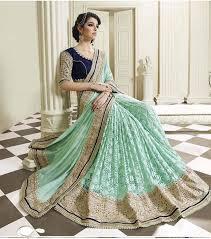 green net plain saree at rs 1570 5842381 voonik india