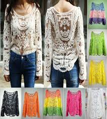 semi sleeve sheer embroidery floral lace crochet t shirt tops
