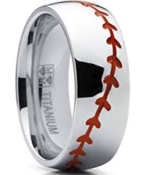 baseball wedding ring baseball rings sports rings usa made titanium rings free sizing