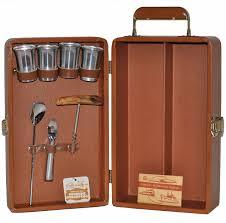 Vintage brown 2 bottle trav l bar travel bar tool case the hour shop