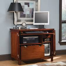 furniture simple brown computer armoire with ikea desk lamp on