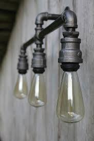 industrial pipe light fixture triple light industrial wall or ceiling sconce 3 light