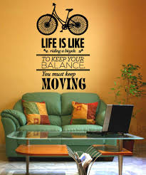 inspirational quotes wall decals inspirational wall stickers vinyl wall decal sticker life is like a bike quote 5153