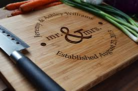 Engravable Wedding Gifts Personalized Cutting Board Mr And Mrs Circle