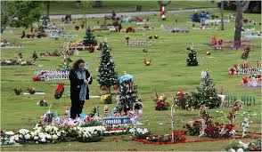 gravesite decorations christmas flourishes in a trim green stillness the new york times