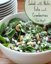salad with nuts feta and cranberries two ways