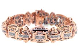 mens rose gold bracelet images 14k rose gold 7 29 ct diamond link mens bracelet 8 5 inches jpg