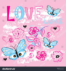 beautiful butterfly flowers tshirt design love stock vector