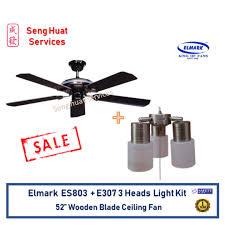 3 head ceiling fan elmark es803 52 wooden blade ceiling fan with 3 heads holder light