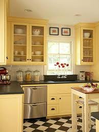 kitchen cabinet and wall color combinations black and white checkerboard floor with yellow wall color for