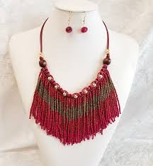 red necklace images Multi color bead fringe necklace magical moments collection png
