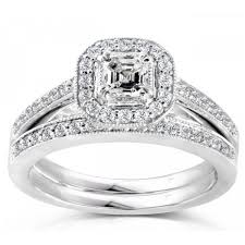 bridal set wedding rings 2 carats princess halo wedding ring bridal set jewelocean