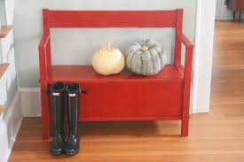 rustic and red storage bench u2014 a simpler design a hub for all
