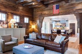 American Flag Living Room by Distressed Leather Sofa In Family Room Farmhouse With Blue Ottoman