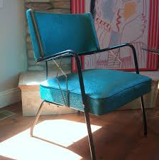 Turquoise Chair Vintage Art Deco Style 1950s Chair Mid Century Modern Upholstered