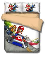 Mario Bros Bed Set Mario Bros Racing Car Bowser Koopa Duvet Cover Bedding Set