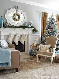 Images Of Blue Christmas Decorations by Holiday Rooms In Blue And White Traditional Home