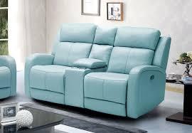 Blue Reclining Sofa by Kuka Milano Light Blue Reclining Sofa Leather Match