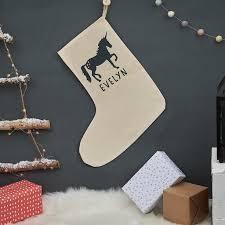 personalised christmas unicorn stocking by owl u0026 otter