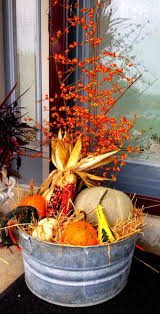 autumn decorations beautiful porch decor made with an washtub filled with