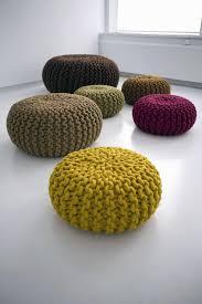 furniture cobalt blue knit pouf ottoman for living room