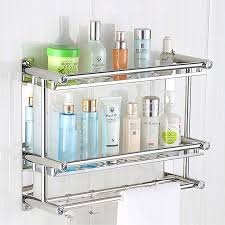 Towel Shelving Bathroom Suction Wall Stainless Steel Bathroom Towel Racks No Drilling