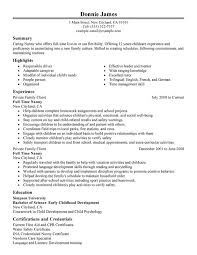 Child Care Worker Resume Template Child Care Resume Nanny Resume Sample Unforgettable Nanny Resume