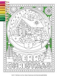 christmas coloring holiday xmas snow globe christmas