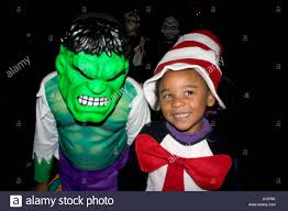 cat in the hat incredible hulk halloween kids trick and treaters