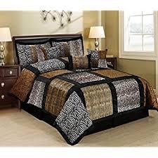 California King Comforter Sets On Sale Amazon Com 7 Piece King Leopard Patchwork Micro Suede Comforter