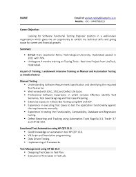 sle resume for freshers career objective testing resume sle sle resume for qtp tester exle best cv of