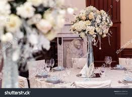 decoration tables luxury decorated tables rich wedding reception stock photo