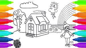 coloring house and pine trees clothes and teach draw for