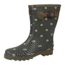 womens wellington boots size 9 womens flower flat grip sole ankle winter wellies