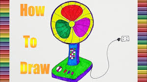 how to draw an electric fan color for kids when coloring for