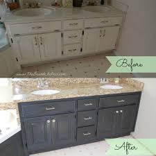 before and after of bathroom vanity makeover by the bearded iris