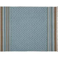 Pottery Barn Zig Zag Rug Blue White Chevron Rug