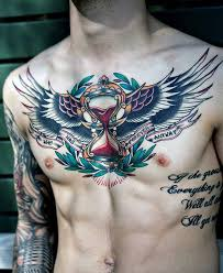 traditional badass hourglass eagle wings chest tattoos
