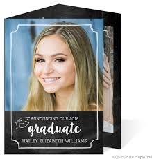 tri fold graduation announcements chalkboard wreath trifold graduation announcement tri fold