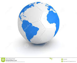 Earth Globe Map World by Blue World Globe Map On White Soccer Ball Royalty Free Stock