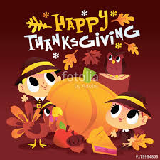 pilgrim around large pumpkin with happy thanksgiving